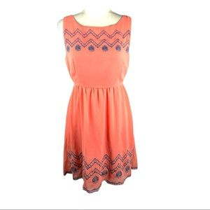 Flying Tomato Coral Embroidered Chiffon Dress
